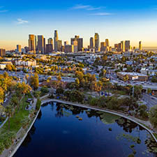 Beautiful aerial view of downtown Los Angeles skyline with skysc